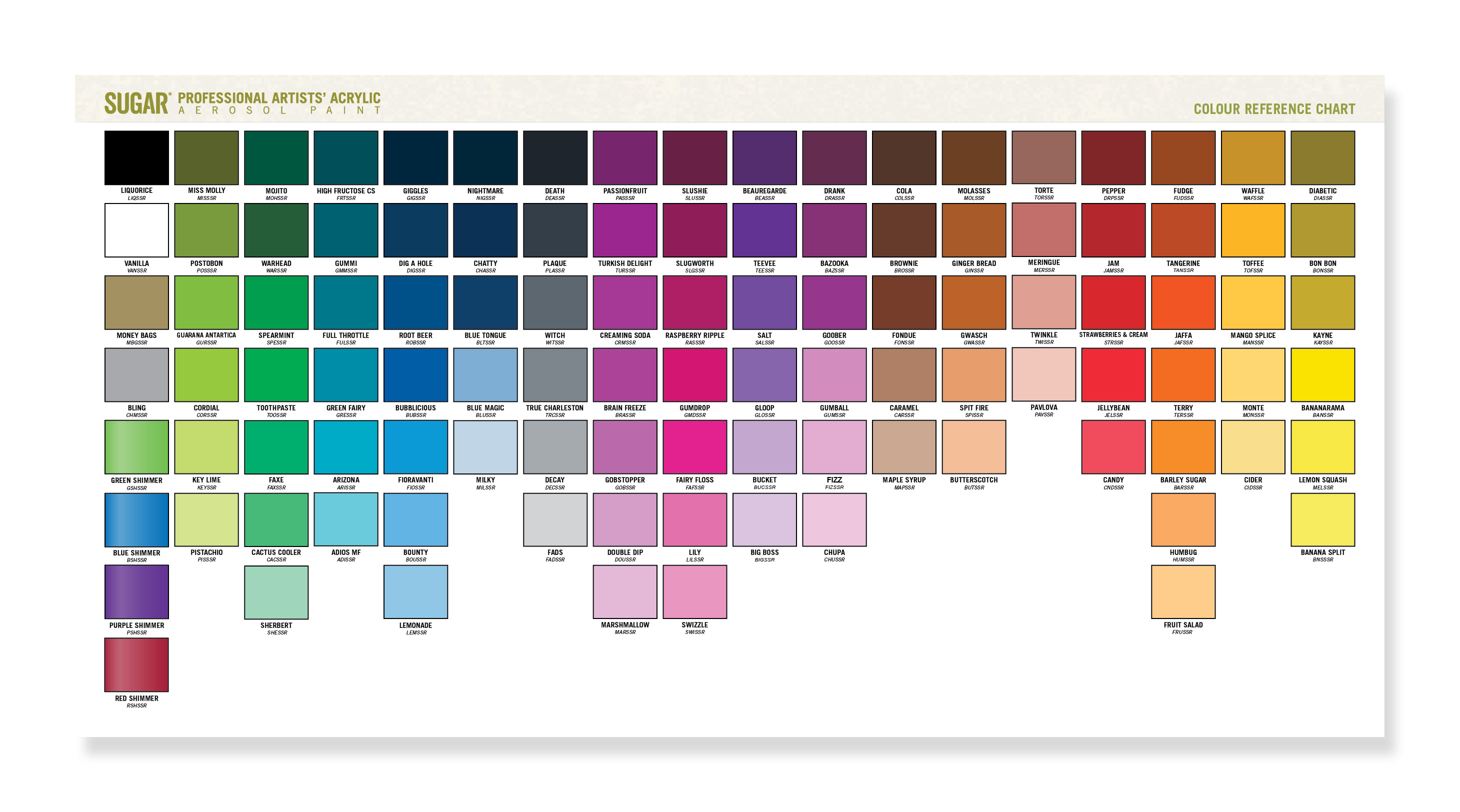 Sugar artists acrylic meadhbh tobin colour chart point of sale geenschuldenfo Image collections